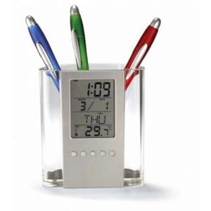 Porta Caneta com Relógio digital, alarme e temperatura