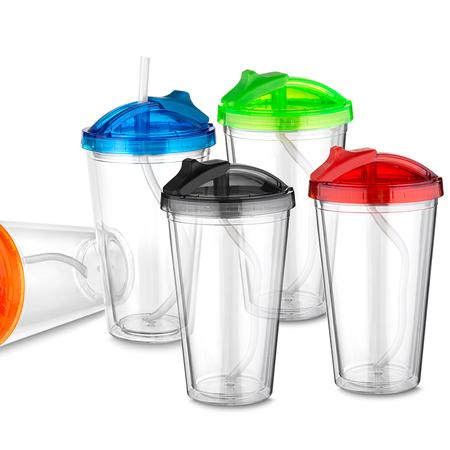 Copo Plástico com Canudo para Brindes