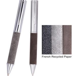 Caneta Metálica com detalhe em papel reciclado Francês