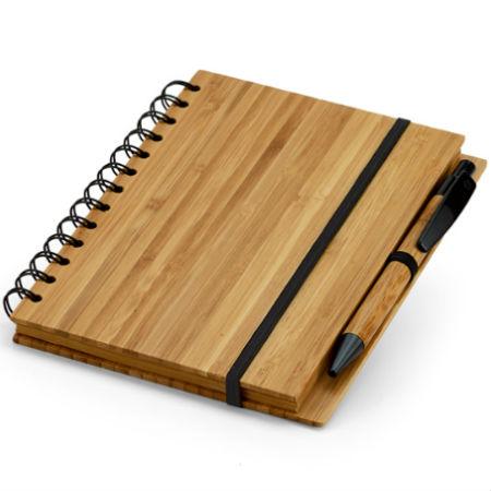 Caderno com Caneta e Capa de Bambu Personalizado