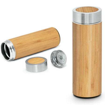 Garrafa térmica de Bambu e Aço Inox para Bindes