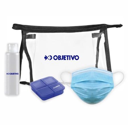 Kit de Proteção com Álcool Gel Porta Comprimidos e Máscaras
