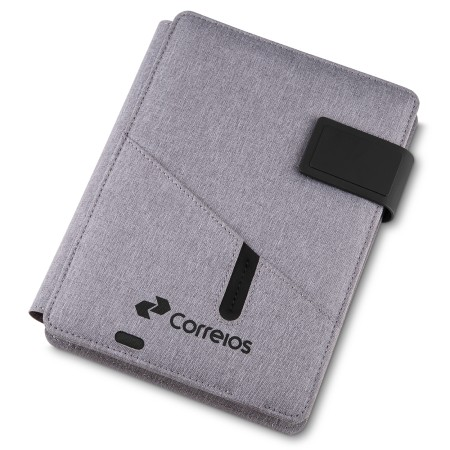Caderno de Anotações com Power Bank 4.000 mAh