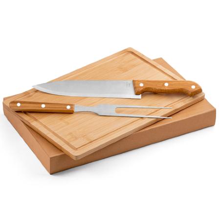 Kit churrasco Aço Inox e Bambu Personalizado