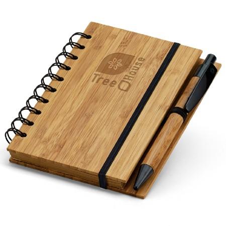 Caderno com Caneta e capa de Bambu Brindes