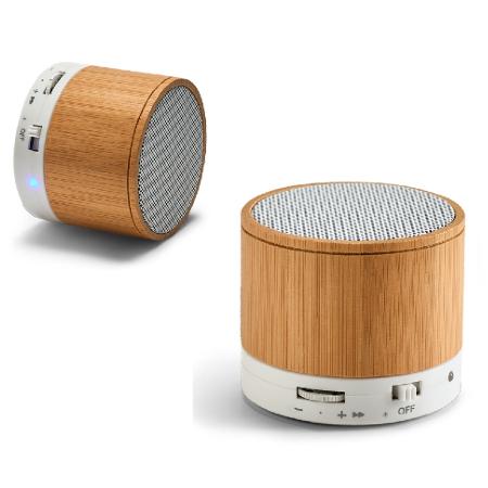 Caixa de Som de Bambu com Microfone