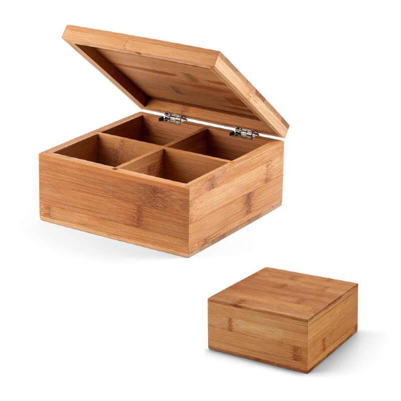 Caixa para Chá de Bambu com 4 Divisórias Personalizada