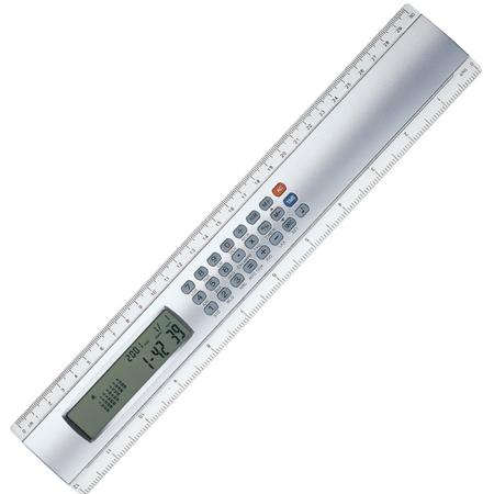 Régua com Calculadora de oito dígitos e Relógio Digital