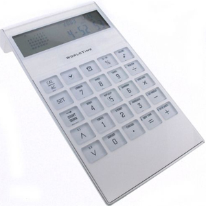 Calculadora de Mesa com calendário, relógio e alarme