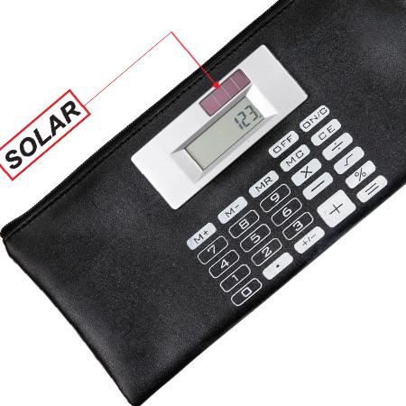 Carteira em Couro com Calculadora Solar para Brinde