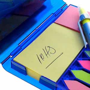 Porta Recado Transparente com Bloco, Post its e Caneta