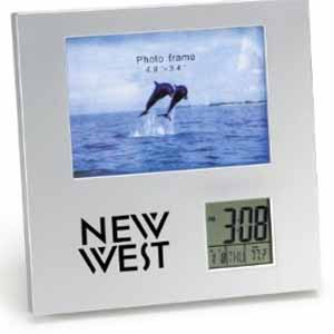 Porta Retrato Silver com Relógio Promocional