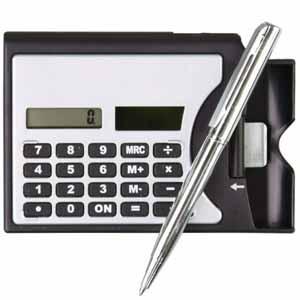 Calculadora Day by Day com Caneta e Porta Cartões