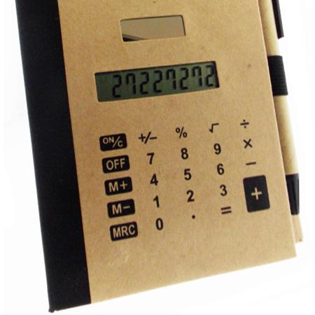 Bloco de Anotação e Caneta Reciclada com Calculadora Solar