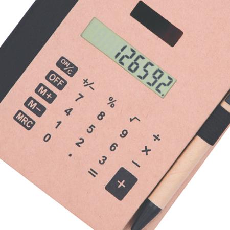 Bloco de Anotações Feminino com Caneta e Calculadora Solar