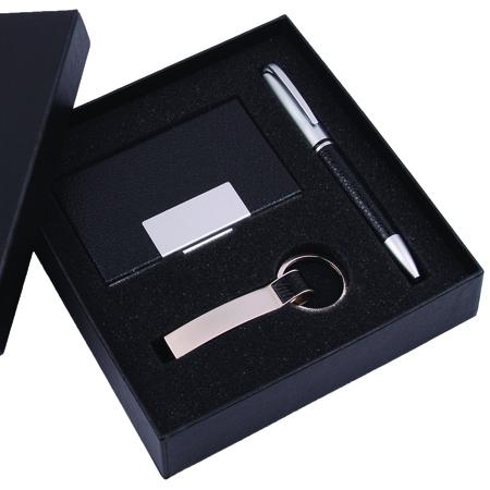 Kit com Caneta, Chaveiro e Porta Cartão