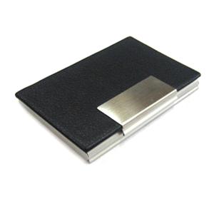 Porta Cartões em couro sintético e placa de metal